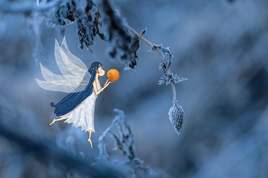 Fée d'hiver apportant une orange aux lutins. Tout est glacé sur son passage. © Lumi Poullaouec