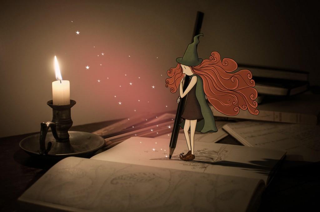 La muse à rêves dessine les plus jolis rêves du monde à la lueur de la bougie. © Lumi Poullaouec