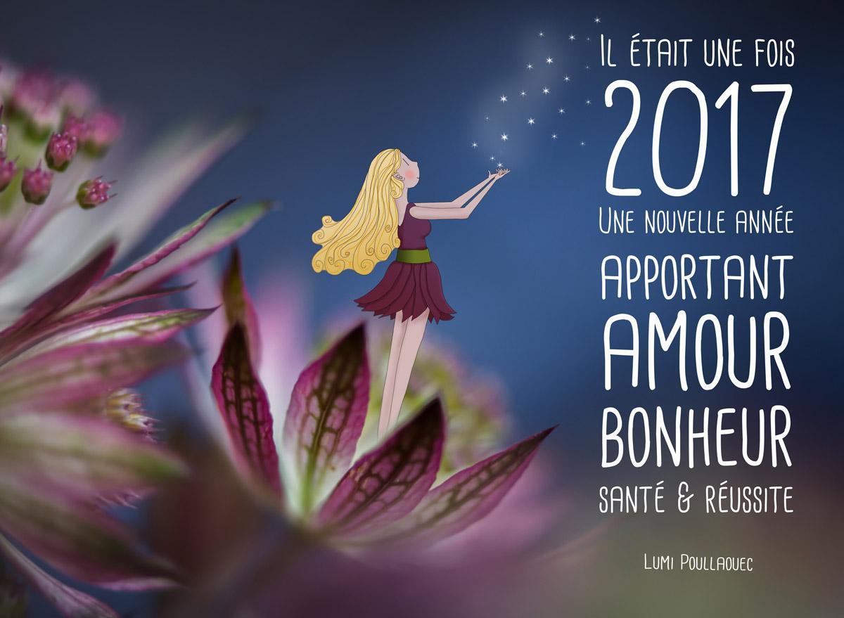 Carte de vœux féérique - voeux 2017 - Il était une fois -Nouvelle année