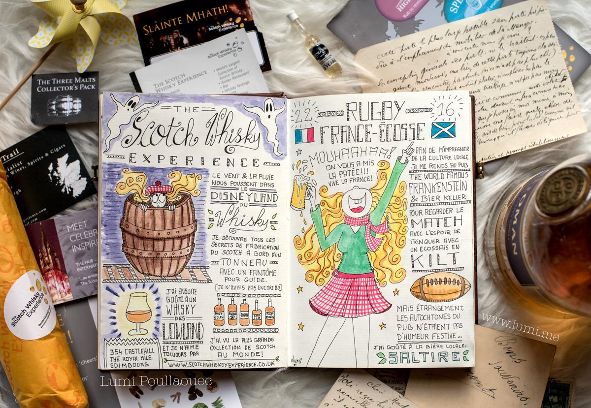 Photo de mon carnet de voyage racontant la Scotch whisky expérience à edimbourg et le match de rugby France/Ecosse.