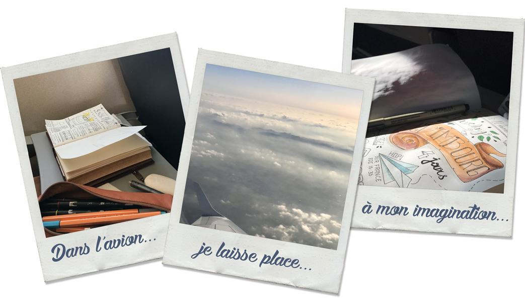 3 polaroïdes pris dans l'avion. Dans l'avion je laisse place à mon imagination.