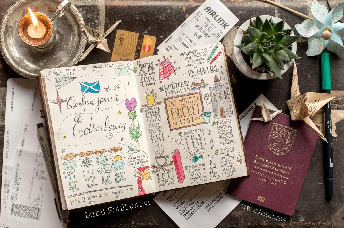 Carnet - bucket list -Edimbourg - voyage - paperblanks -bullet journal