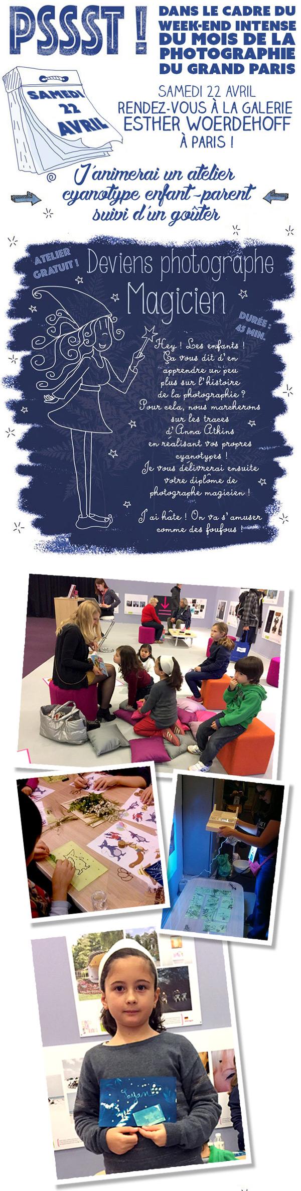 Atelier Cyanotype pour enfants à Paris - activité gratuite - mois de la photographie - grand paris - Galerie Esther Woerdehoff