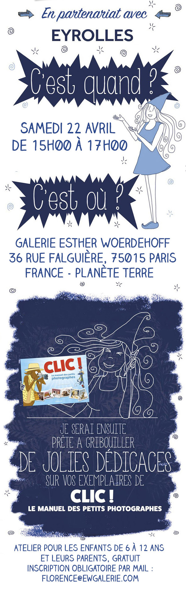 Atelier Cyanotype pour enfants à Paris - activité gratuite - photographie - Galerie Esther Woerdehoff